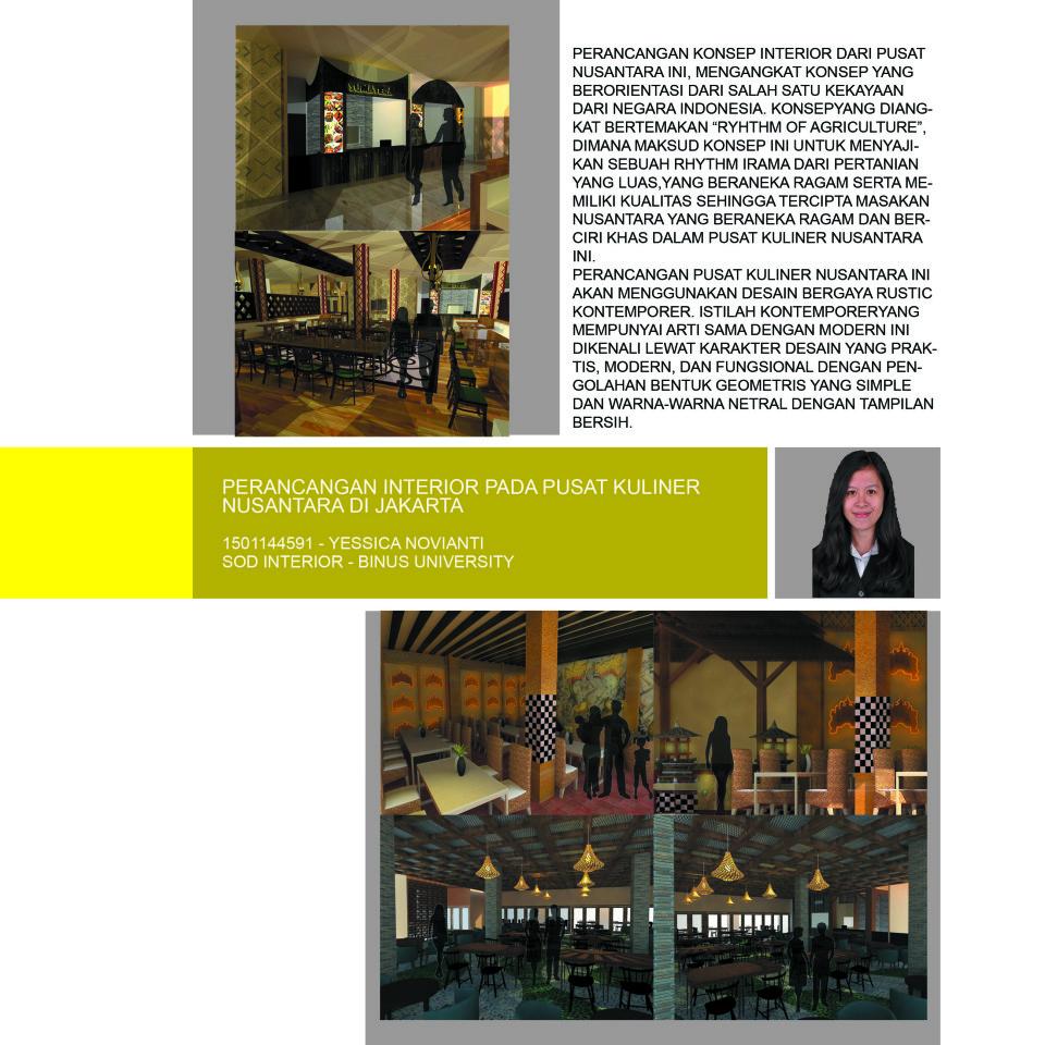 PERANCANGAN INTERIOR PADA PUSAT KULINER NUSANTARA DI JAKARTA  1501144591 – YESSICA NOVIANTI SOD INTERIOR – BINUS UNIVERSITY